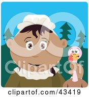 Clipart Illustration Of A Hispanic Pilgrim Woman Holding A Thanksgiving Turkey Bird by Dennis Holmes Designs