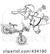 Line Art Of An Extreme Bmx Biker Doing A Trick