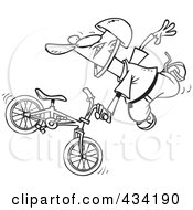 Royalty Free RF Clipart Illustration Of Line Art Of An Extreme Bmx Biker Doing A Trick by toonaday