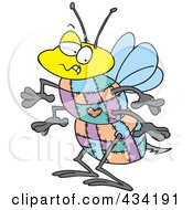 Royalty Free RF Clipart Illustration Of A Quilted Bee by toonaday