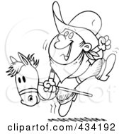 Royalty Free RF Clipart Illustration Of Line Art Of A Boy Riding A Stick Pony