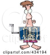 Cartoon Man Standing Behind An Xray Machine