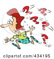 Royalty Free RF Clipart Illustration Of A Cartoon Businesswoman Running From Questions