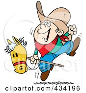 Royalty Free RF Clipart Illustration Of A Cartoon Boy Riding A Stick Pony by toonaday