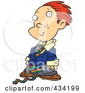 Cartoon Business Executive Boy Using A Magnifying Glass