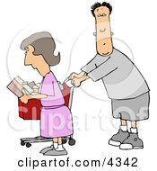 Husband And Wife Grocery Shopping Clipart