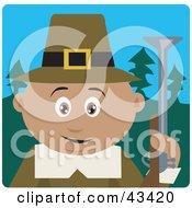 Clipart Illustration Of A Hunting Male Hispanic Pilgrim Holding A Gun