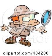 Cartoon Archaeology Boy Using A Magnifying Glass