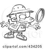 Royalty Free RF Clipart Illustration Of Line Art Of A Cartoon Archaeology Boy Using A Magnifying Glass by toonaday