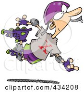 Royalty Free RF Clipart Illustration Of An Extreme Roller Blader Boy by toonaday