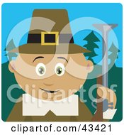 Clipart Illustration Of A Hunting Male Latin American Pilgrim Holding A Gun