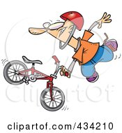 Royalty Free RF Clipart Illustration Of An Extreme BMX Biker Doing A Trick by toonaday