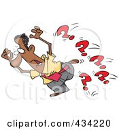 Royalty Free RF Clipart Illustration Of A Cartoon Black Businessman Running From Questions