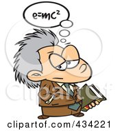 Royalty Free RF Clipart Illustration Of Little Einstein Carrying A Book by Ron Leishman