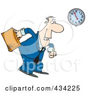 Royalty Free RF Clipart Illustration Of A Cartoon Businessman Leaving At The End Of The Work Day
