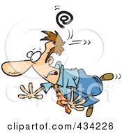 Royalty Free RF Clipart Illustration Of An Email Symbol Whacking A Cartoon Businessman by toonaday