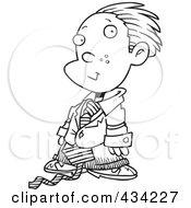 Line Art Of A Cartoon Business Executive Boy Using A Magnifying Glass