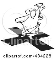 Royalty Free RF Clipart Illustration Of Line Art Of A Cartoon Man Standing On An X by toonaday