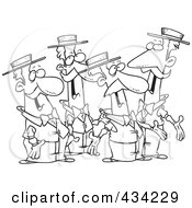 Royalty Free RF Clipart Illustration Of Line Art Of A Quartet Of Singing Cartoon Men by toonaday