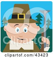 Clipart Illustration Of A Hunting Male Caucasian Pilgrim Holding A Gun by Dennis Holmes Designs