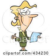 Royalty Free RF Clipart Illustration Of A Pleased Cartoon Businesswoman Holding Year End Reports