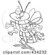 Royalty Free RF Clipart Illustration Of Line Art Of A Quilted Bee