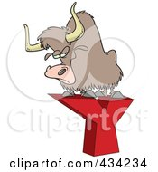 Royalty Free RF Clipart Illustration Of A Yak On A Letter Y by toonaday