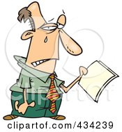 Royalty Free RF Clipart Illustration Of A Cartoon Businessman Crying Over Year End Reports