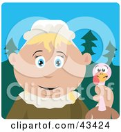 Clipart Illustration Of A Caucasian Pilgrim Woman Holding A Thanksgiving Turkey Bird by Dennis Holmes Designs