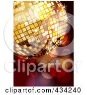Royalty Free RF Clipart Illustration Of A Golden Disco Ball Over Sparkles by MilsiArt