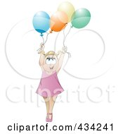 Royalty Free RF Clipart Illustration Of A Happy Blond Girl Holding Up Colorful Party Balloons by MilsiArt
