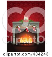Royalty Free RF Clipart Illustration Of A Fire Burning In A Fireplace Adorned With Christmas Stockings And Candles With A Red Wall
