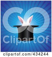 Royalty Free RF Clipart Illustration Of White Rabbit Ears In A Magic Hat by Eugene #COLLC434244-0054