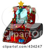 Royalty Free RF Clipart Illustration Of Santa Operating A Bobcat Machine With Gifts In The Bucket by djart #COLLC434247-0006