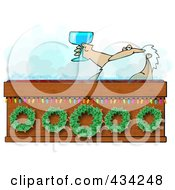 Royalty Free RF Clipart Illustration Of Santa Toasting With Wine In A Hot Tub