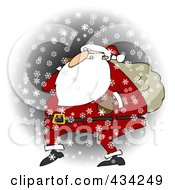 Santa Walking In The Snow With One Arm Carrying A Sack Over His Shoulder