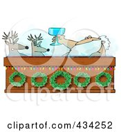 Royalty Free RF Clipart Illustration Of Santa Toasting To Reindeer With Wine In A Hot Tub by djart