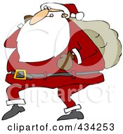 Santa Walking With One Arm Carrying A Sack Over His Shoulder