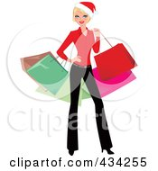 Royalty Free RF Clipart Illustration Of A Blond Christmas Woman Posing And Carrying Colorful Shopping Bags by Monica