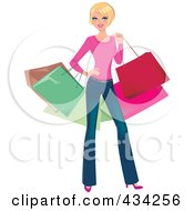 Royalty Free RF Clipart Illustration Of A Blond Woman Posing And Carrying Colorful Shopping Bags by Monica