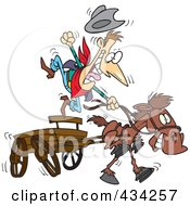 Royalty Free RF Clipart Illustration Of A Cowboy And Fast Horse With A Wagon by toonaday