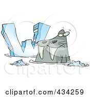 Royalty Free RF Clipart Illustration Of A Cartoon Walrus And Letter W by toonaday