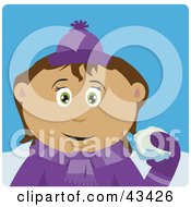 Clipart Illustration Of A Latin American Girl Throwing Snowballs by Dennis Holmes Designs