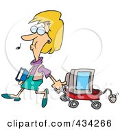 Royalty Free RF Clipart Illustration Of A Woman Whistling And Pulling A Computer In A Wagon