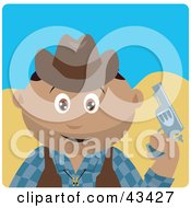 Clipart Illustration Of A Hispanic Cowboy Kid Holding A Pistil