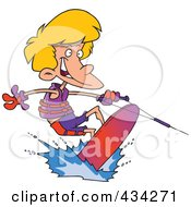 Royalty Free RF Clipart Illustration Of A Cartoon Boy Wakeboarding