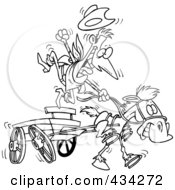 Royalty Free RF Clipart Illustration Of A Line Art Design Of A Cowboy And Fast Horse With A Wagon