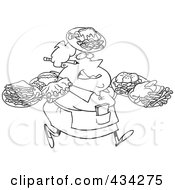 Royalty Free RF Clipart Illustration Of A Line Art Design Of A Fat Female Waitress Carrying Many Plates