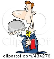 Royalty Free RF Clipart Illustration Of A Pleasant Waiter Carrying A Platter by toonaday