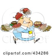 Royalty Free RF Clipart Illustration Of A Fat Female Waitress Carrying Many Plates